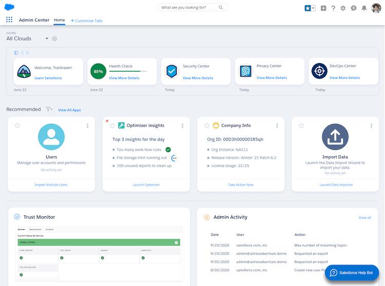Salesforce Admin Center